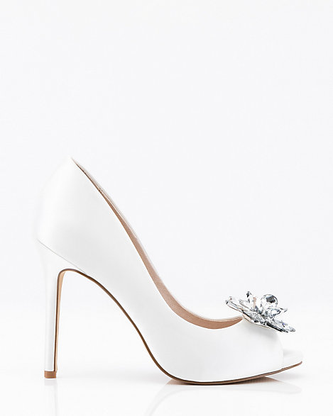 Jewel Embellished Satin Peep Toe Pump