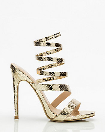 Snake Embossed Ankle Wrap Sandal
