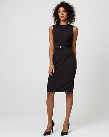 Gabardine Belted Sheath Dress