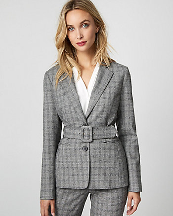 Glen Check Notch Collar Belted Blazer
