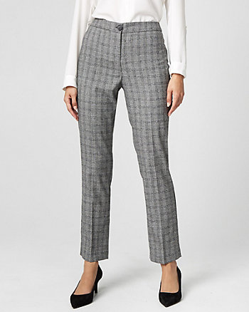 Glen Check Viscose Blend Slim Leg Pant