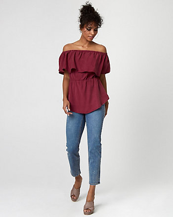 Lyocell Off-the-Shoulder Blouse