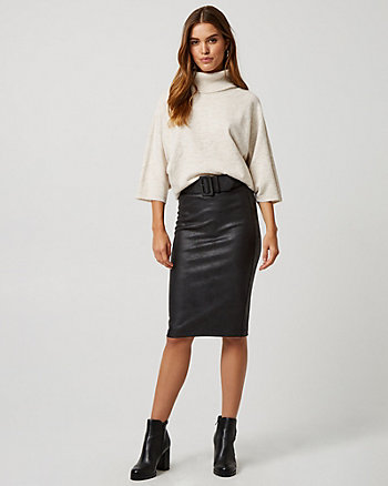 Coated Ponte Knit Belted Pencil Skirt