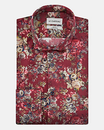 Floral Print Cotton Sateen Slim Fit Shirt