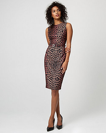 Leopard Print Gabardine Belted Sheath Dress