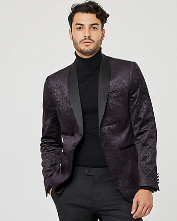 Embossed Velvet Shawl Collar Blazer