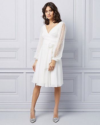 Chiffon & Lace Wrap Cocktail Dress