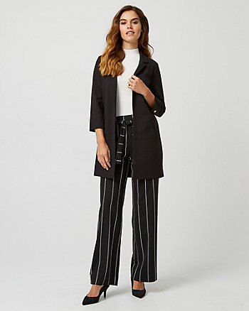 Ponte Knit Notch Collar Longline Blazer