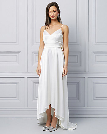 Satin Bow Belt High-Low Gown