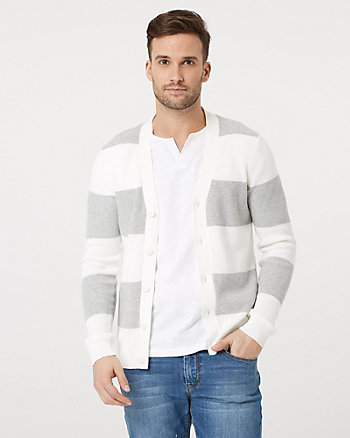 Stripe Cotton Button Front Cardigan