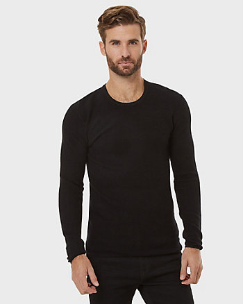 Textured Viscose Blend Crew Neck Sweater