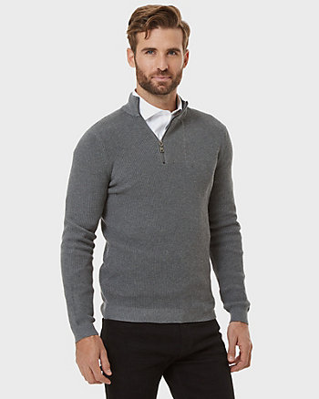 Cotton Poplin Mock Neck Sweater