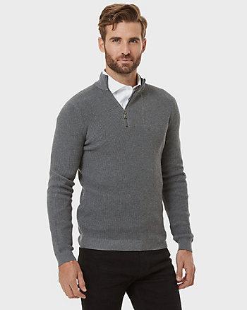 Cotton Poplin Mock Neck Sweater