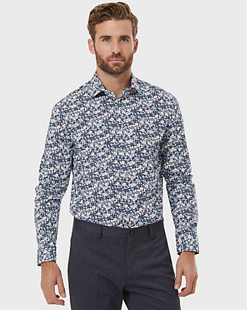 Floral Print Cotton Poplin Tailored Shirt