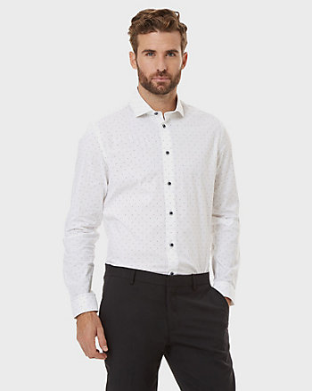 Arrow Print Poplin Cotton Slim Fit Shirt