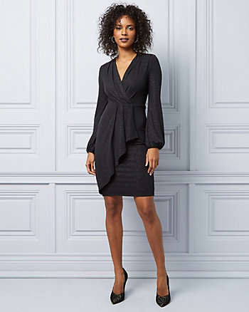 Sparkle Knit Wrap Dress