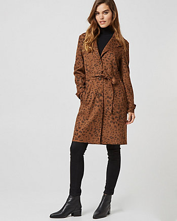 Leopard Print Suede-Like Trench Coat