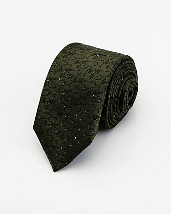 Italian-Made Floral Print Silk & Cotton Tie