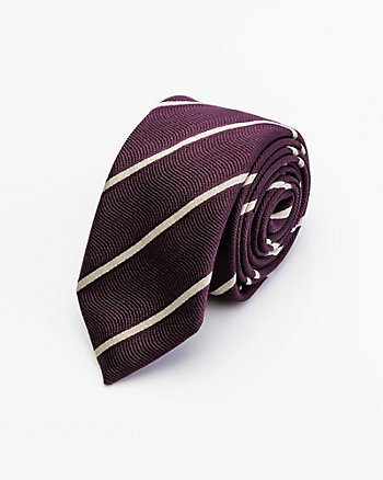 Italian-Made Stripe Print Silk & Cotton Tie