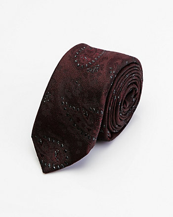 Italian-Made Paisley Print Silk Blend Tie