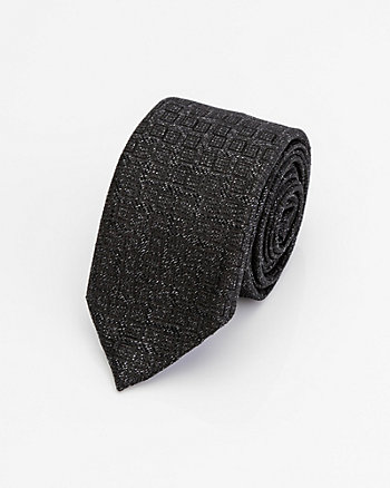 Italian-Made Tonal Print Silk Blend Tie