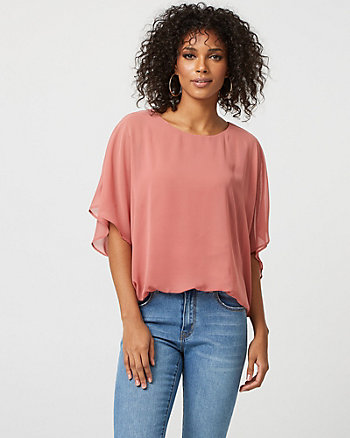 Chiffon Scoop Neck Poncho Top