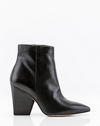 Italian-Made Leather Pointy Ankle Boot