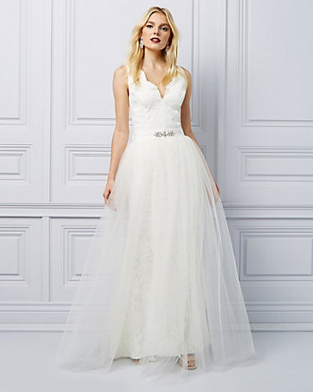 Lace Gown with Detachable Tulle Skirt
