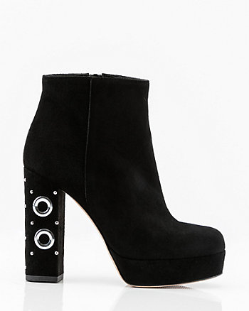 Italian-Made Suede Rivet Heel Ankle Boot