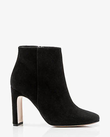 Italian-Made Suede Square Toe Ankle Boot