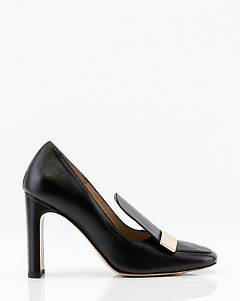 Italian-Made Leather Square Toe Pumps