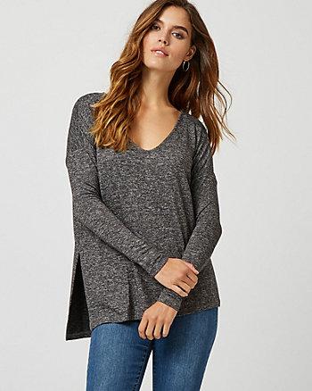 Drop Shoulder Asymmetric V-Neck Sweater