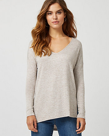 Drop Shoulder Asymmetric V-Neck Sweater