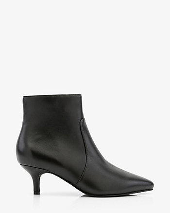 Leather Pointy Kitten Heel Ankle Boot