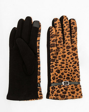 Leopard Print Touchscreen Gloves