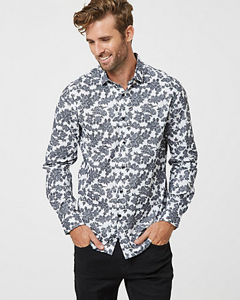 Floral Print Cotton Slim Fit Shirt