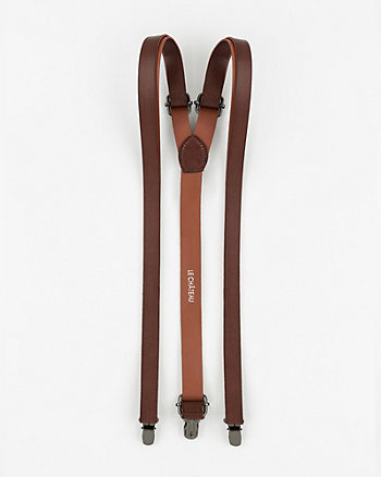 Grain Leather Suspenders
