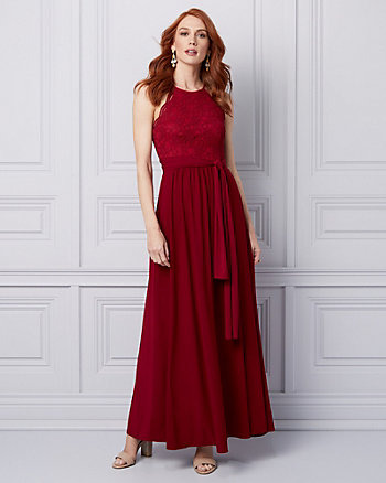 Lace & Knit Halter Gown