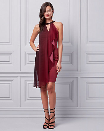Ombré Knit Halter Ruffle Dress