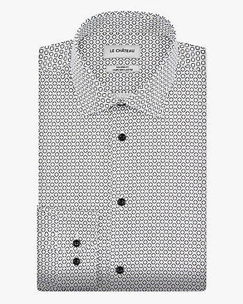 Geo Print Cotton Poplin Tailored Fit Shirt