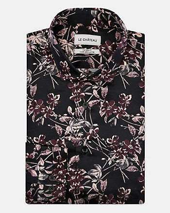 Floral Print Cotton Sateen Tailored Shirt