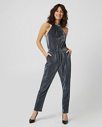 Metallic Knit Halter Neck Jumpsuit