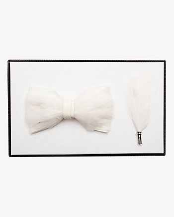 Feather Bow Tie & Lapel Pin Set