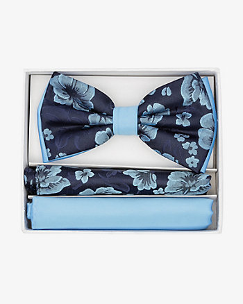 Floral Print Bow Tie & Pocket Square Set