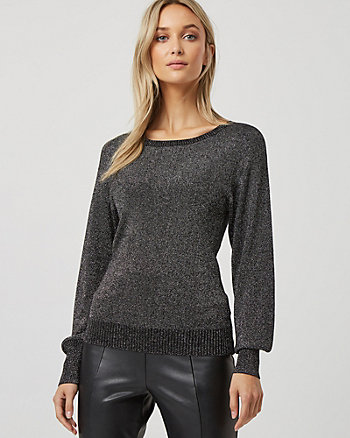 Shimmering Viscose Blend Drop Shoulder Sweater