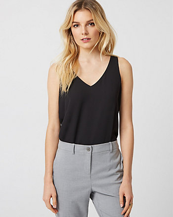 Crêpe de Chine & Knit V-Neck Blouse