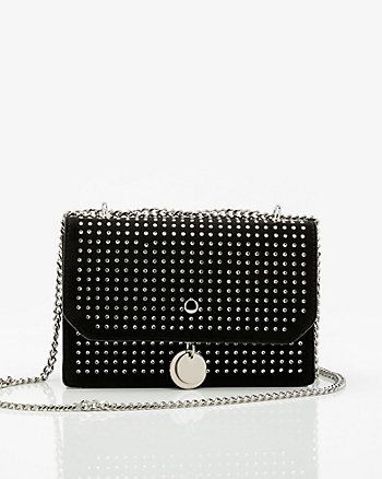 Jewel Embellished Suede-Like Clutch