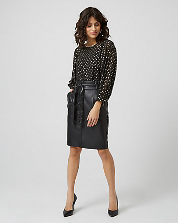 Faux Leather Paper Bag Skirt