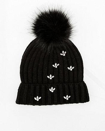Gem Embellished Rib Knit Hat