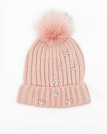 Gem Embellished Rib Knit Hat